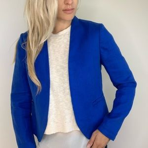 Loft Cobalt Blue Open Front Blazer Jacket size 4